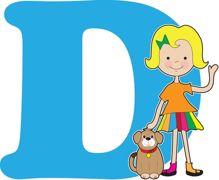 girl: A young girl holding a dog to stand for the letter D