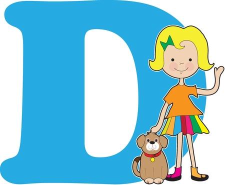 Een jong meisje met een hond om op te staan voor de letter D