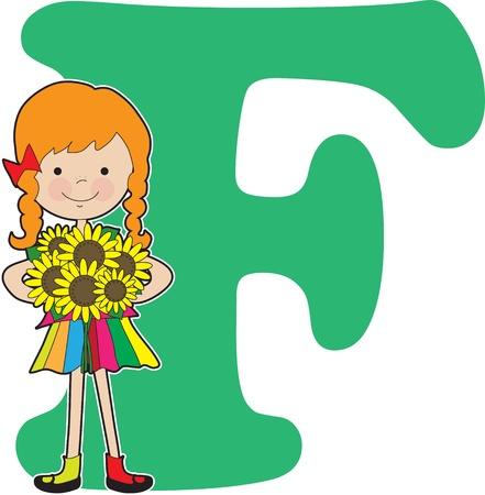 文字 F のために立つ花を保持している若い女の子