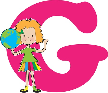 A young girl holding a globe to stand for the letter G Stock Vector - 11870324