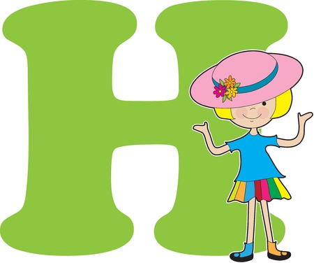 A young girl wearing a big hat to stand for the letter H