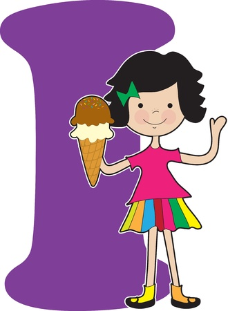 A young girl holding an ice cream cone to stand for the letter I Çizim