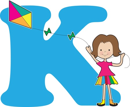 A young girl flying a kite to stand for the letter K Ilustração