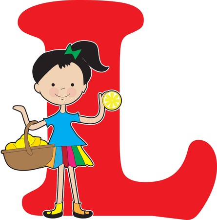 A young girl holding a basket of lemons to stand for the letter L Stock Vector - 11870302