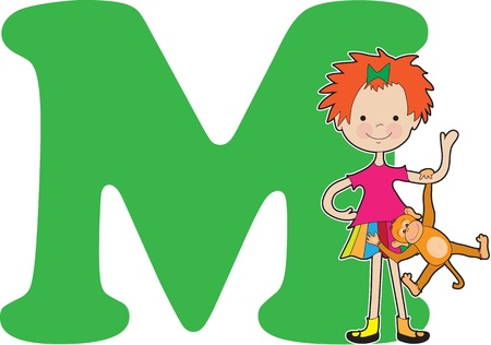 A young girl holding a monkey to stand for the letter M