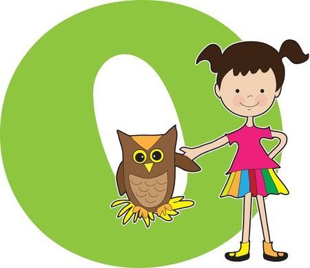 A young girl holding the wing of an owl to stand for the letter O Vector