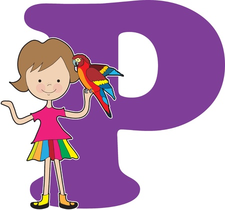 preschooler: A young girl holding a parrot to stand for the letter A Illustration