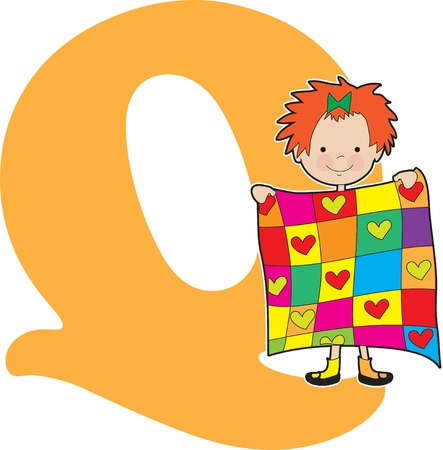 patchwork quilt: A young girl holding a quilt to stand for the letter Q