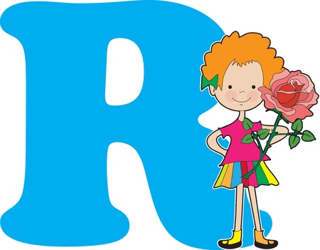 A young girl holding a rose to stand for the letter R Vector