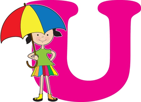 girl: A young girl holding an umbrella to stand for the letter U Illustration