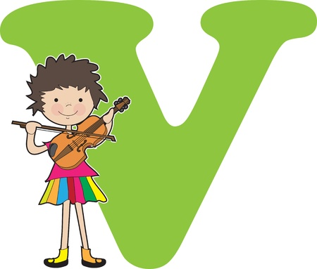 A young girl holding a violin to stand for the letter V