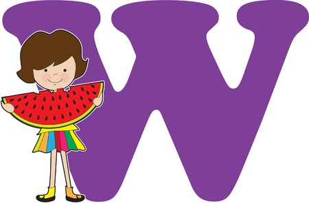 preschooler: A young girl holding a watermelon to stand for the letter W