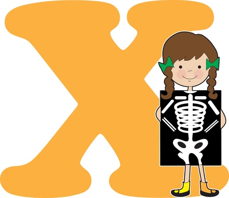 x stand: Una chica joven que sostiene una radiograf�a a presentarse a la letra X