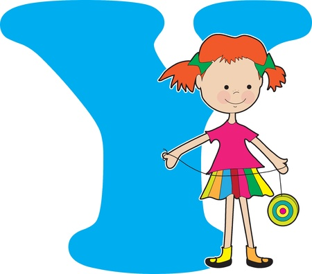 A young girl holding a YoYo to stand for the letter A