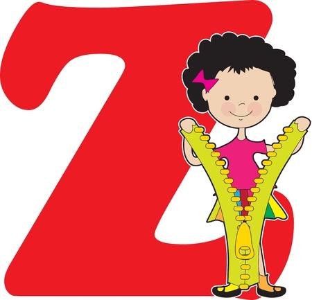 Een jong meisje met een rits te staan voor de letter Z