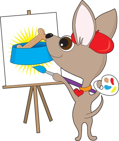 An artistic chihuahua wearing a red beret and collar, is holding a painters pallet and painting at  an easel.