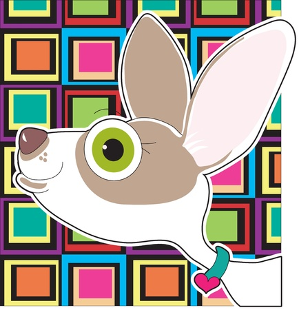 An  illustrated portrait of a pet Chihuahua, set on a colorful background.