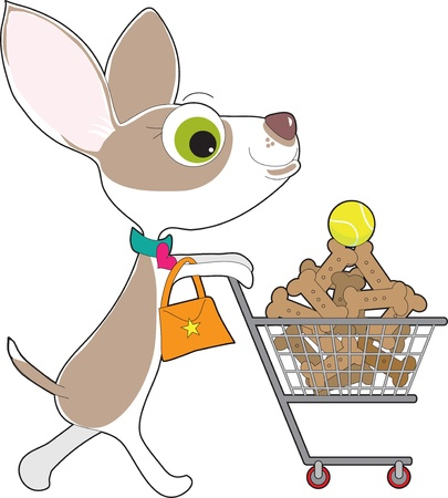 A Chihuahua, complete with dress collar and purse, is out supermarket shopping. In her cart is a stack of dog biscuits, with a single tennis ball on top.
