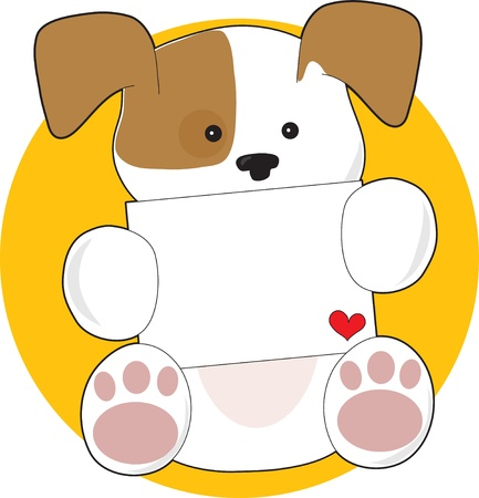 A cute brown and white puppy, on a circular yellow background, is holding a letter with a small heart in the corner. photo