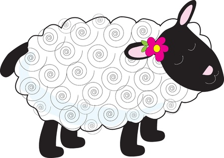 A little lamb has a curly, white coat and black face, legs and tail. A small flower sits beside one of her pink ears. photo