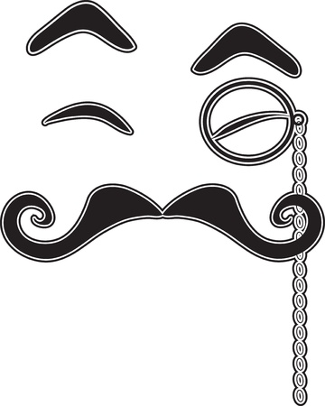 A black silhouette of eyebrows, eyes, mustache and monocle, together giving the impression of a face.