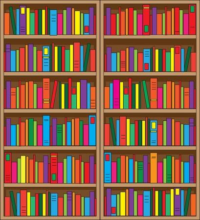 大規模な二重ケース本棚、複数の色の書籍のボリュームでいっぱい。 写真素材