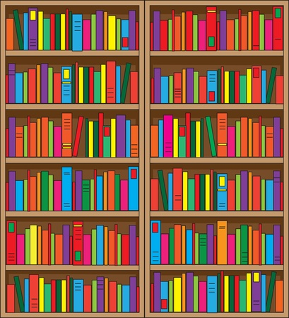 A large, double case bookshelf, filled with volumes of multi colored books. photo