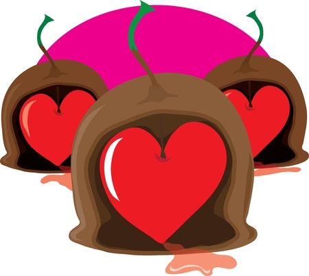 centres: Three stylized marachino cherry chocolates with stems, have been cut open to reveal Valentine, heart shaped, cherry centres. Stock Photo
