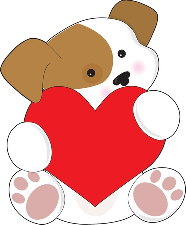 romance: A cute brown and white puppy, is holding a red heart that is half as big as the puppy. Stock Photo