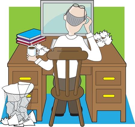 Een kantoormedewerker, of schrijver werken op een houten bureau, lijkt te worden gefrustreerd door zijn vooruitgang. Stockfoto