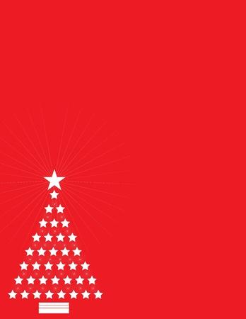 comprised: Uno sfondo rosso con un ritaglio bianco di un albero di Natale stilizzato, formato da stelle e scoppi di illuminazione.