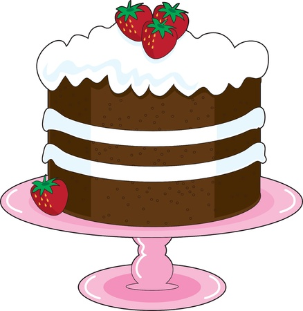 shortcake: Strawberry Shortcake with whipped cream icing and fresh strawberries, is displayed on a pink cake plate with pedestal. Mmmm, yummy!