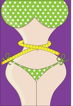 A voluptuous, curvy, female figure in a green, polka dot bikini, has a tape measure wrapped around her waist. Stock Photo
