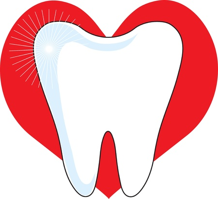 A sparking image of a healthy molar, set on a red heart background.