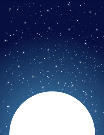 An expansive, starry, night sky sits above a white moon. photo