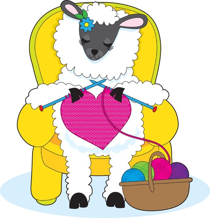 A ewe is in a yellow armchair, knitting a big red heart. photo