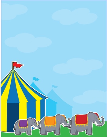 A background with a big sky, colorful circus tents and three elephants. photo