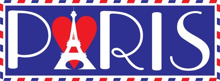 Designed in the style of a travel trunk sticker, with the bold letters PARIS in Parisian script. The Eiffel tower over a heart, makes up the A in Paris. photo