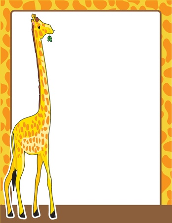 side border: A border framed in a pattern, resembling that of the giraffe standing at the left side of the frame.  Stock Photo