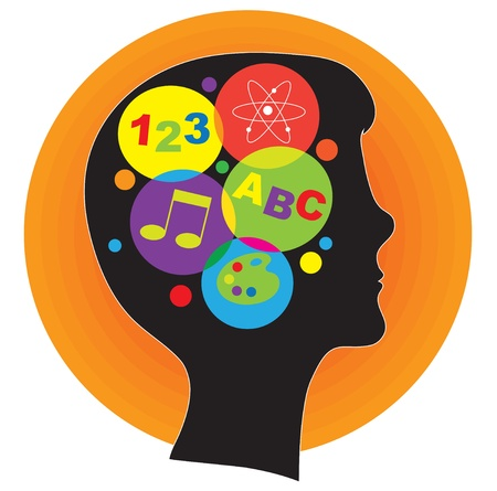 A profile silhouette of a young person, with a head full of ideas represented by colorful icons. photo