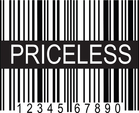 priceless: A typical black and white upc code, with a broad band of black displaying the word, PRICELESS.