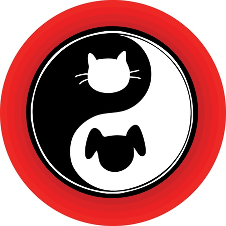 atypical: An atypical yin yang symbol inside a red circle, with a cat and dog engaged in the endless chase.