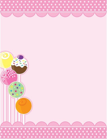 A pink background with top and bottom decorative borders. A stand of candy pops embellishes the left margin. Archivio Fotografico