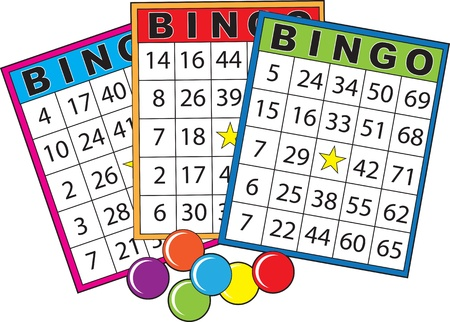 Three colorful bingo cards.