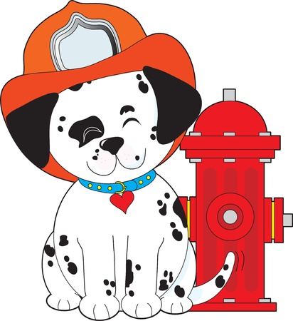 A smiling Dalmatian pup, sitting close by a red fire hydrant, is wearing a fireman