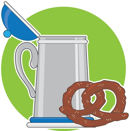 stein: A beer stein and a salted pretzel, sitting on a green background.