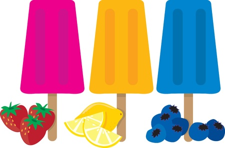 Three colorful popsicles and the types of fruit associated with each color.