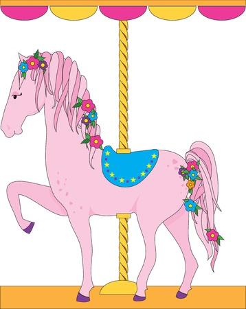 A lovely pink carousel horse, with a flowing mane and tail adorned with flowers, is sporting a blue saddle. photo