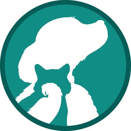 Silhouetten van een vogel, kat en hond liggen in een concentrische manier, de ene binnen de andere, over een groene achtergrond. Stockfoto