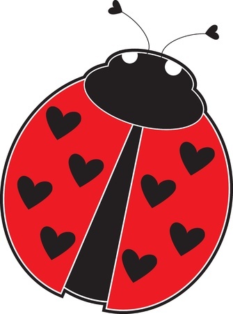 ladybird: A cute lady bug with hearts, instead of dots on its red back.
